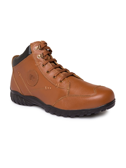 Red Chief Men Tan Brown Solid Leather Mid-Top Derbys