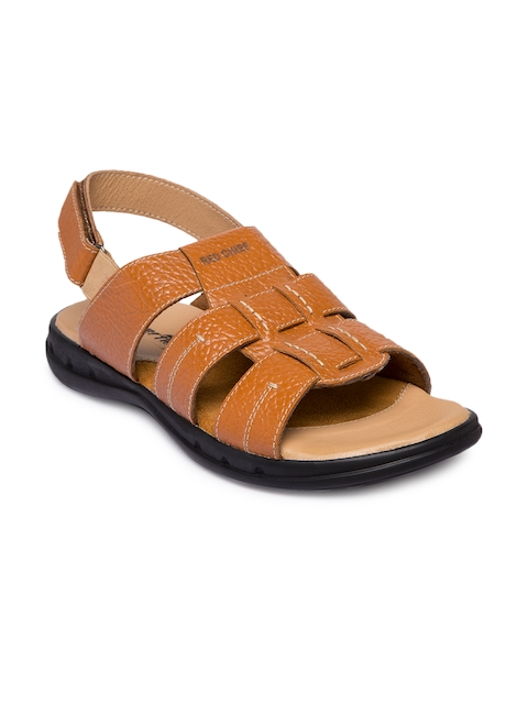 Red Chief Men Tan Brown Leather Comfort Sandals