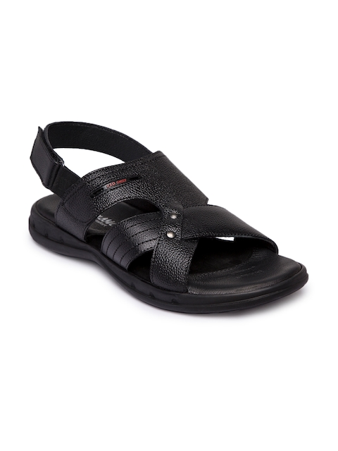 Red Chief Men Black Leather Comfort Sandals