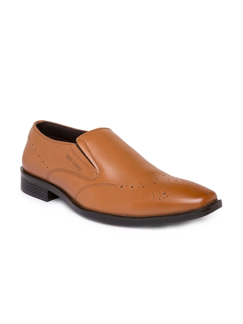 Red Chief Men Tan Brown Leather Formal Slip-on Shoes