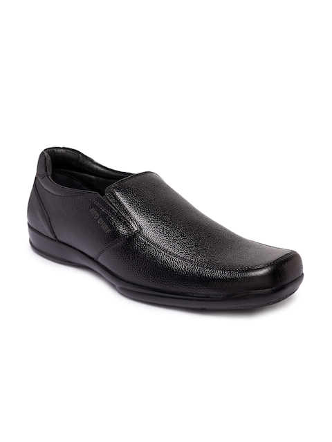 Red Chief Men Black Leather Formal Slip-on Shoes