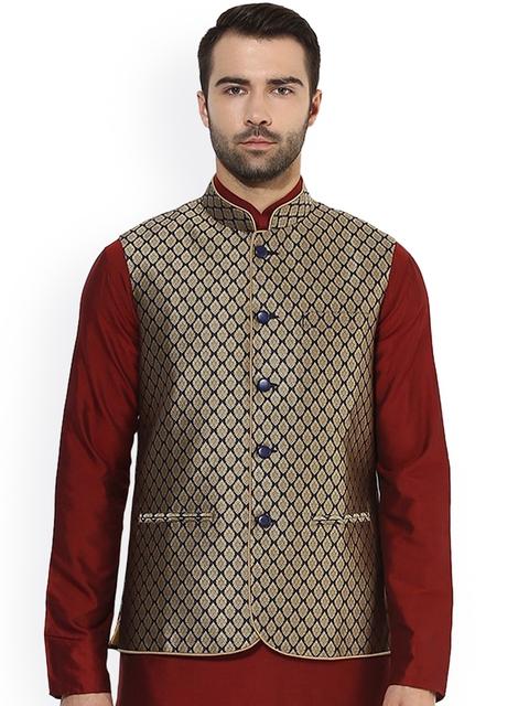 KISAH Men Beige & Navy Patterned Nehru Jacket