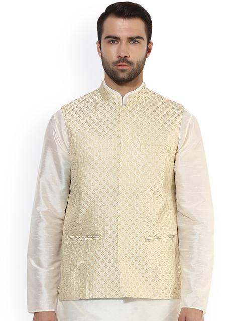 KISAH Men Beige Patterned Nehru Jacket