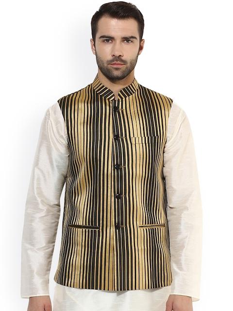 KISAH Men Black & Gold-Toned Patterned Nehru Jacket