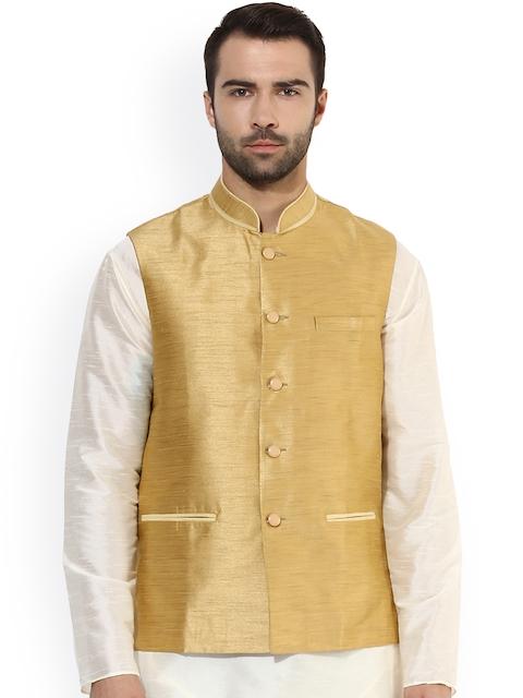 KISAH Men Gold-Toned Patterned Nehru Jacket