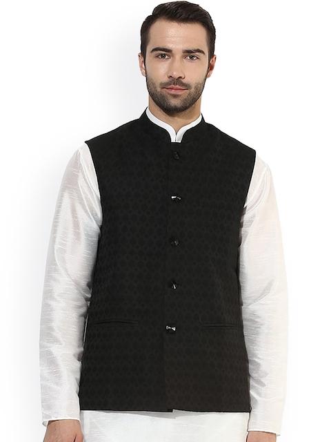 KISAH Men Black Patterned Nehru Jacket
