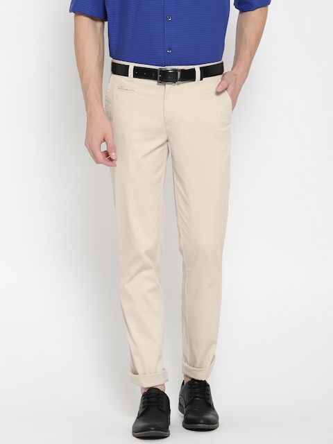Park Avenue Men Beige Tapered Fit Solid Casual Trousers