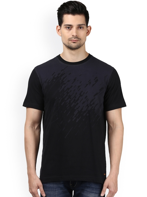 Park Avenue Men Black Printed Round Neck T-shirt
