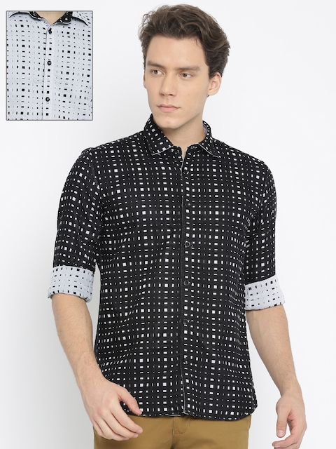 Parx Men Black & White Slim Fit Printed Reversible Casual Shirt