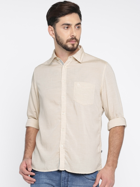 Parx Men Beige Slim Fit Solid Casual Shirt