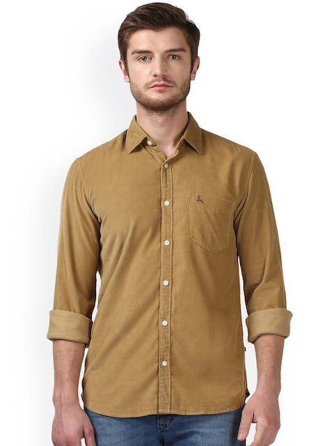 Parx Men Camel Brown Slim Fit Solid Casual Shirt