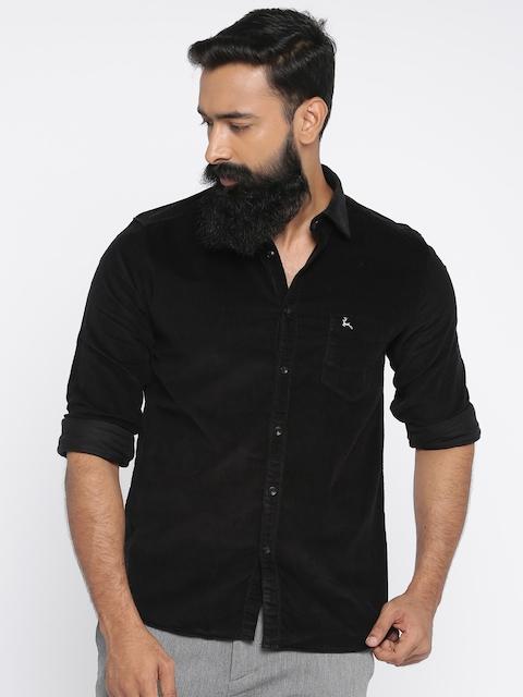 Parx Men Black Slim Fit Solid Corduroy Shirt