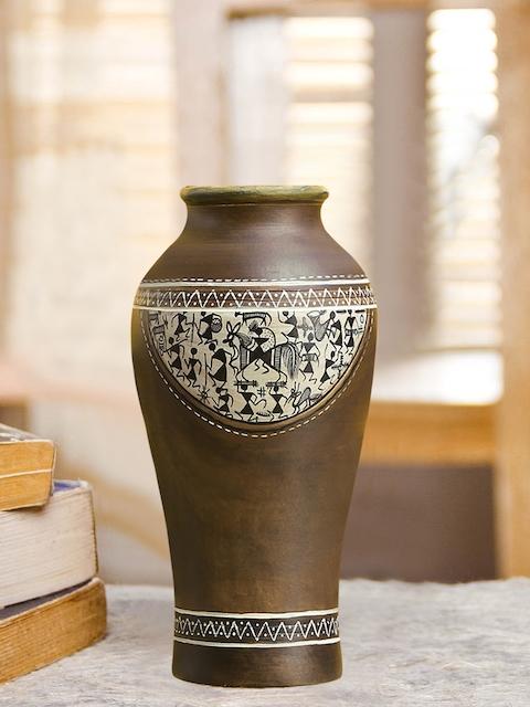 ExclusiveLane Brown Terracotta Handpainted Vase