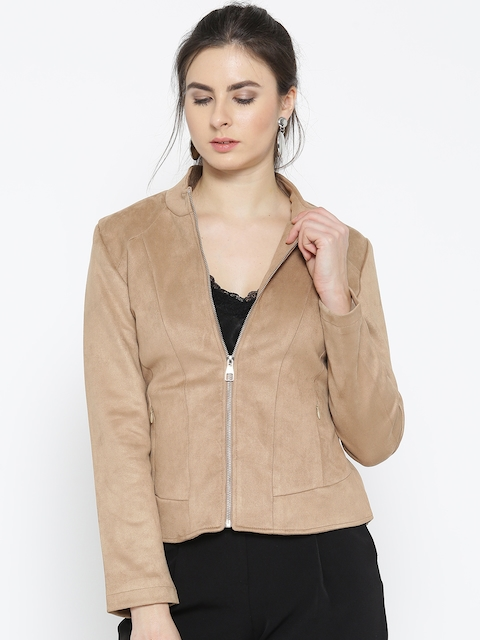 Fort Collins Women Beige Solid Tailored Jacket