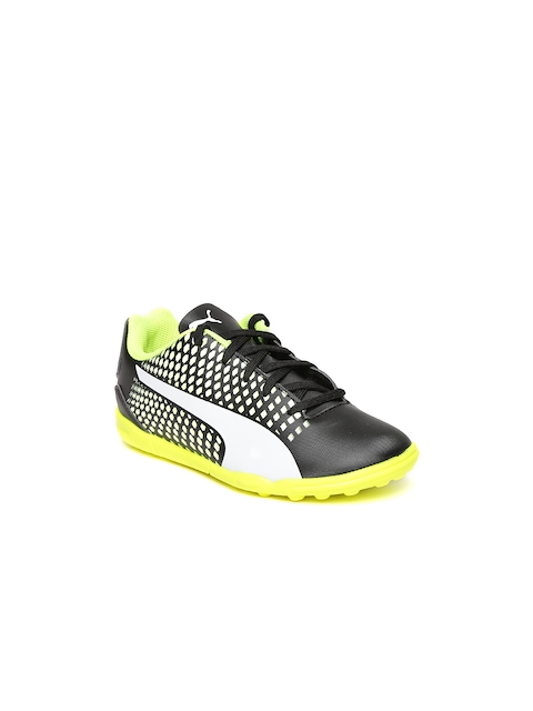 Puma Kids Black & Fluorescent Green Adreno III TT Printed Football Shoes  available at myntra for Rs.1574