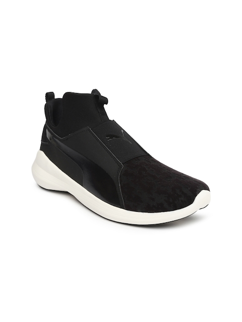 Puma Women Black Solid Mesh Mid-Top Slip-On Sneakers