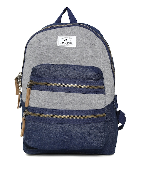 Lavie Women Blue & Grey Colourblocked Backpack