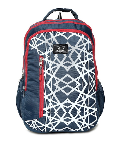 Lavie Women Navy Blue Graphic Backpack