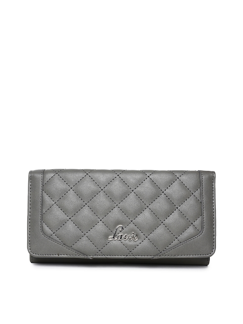 Lavie Women Grey Quilted Three Fold Wallet