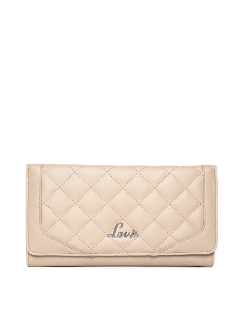 Lavie Women Beige Solid Three Fold Wallet