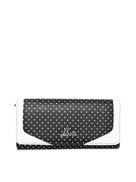 Lavie Women Black & White Colourblocked Three Fold Wallet