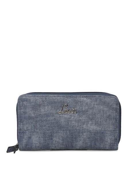 Lavie Women Blue Solid Zip Around Wallet