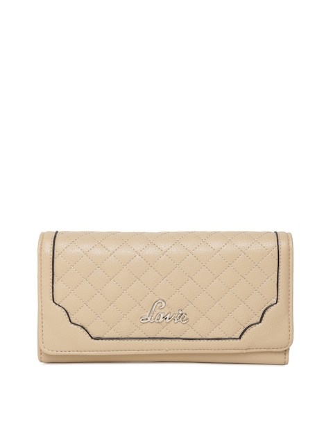 Lavie Women Beige Textured Three Fold Wallet