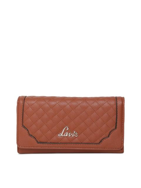 Lavie Women Brown Textured Three Fold Wallet