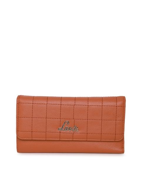 Lavie Women Tan Brown Textured Three Fold Wallet