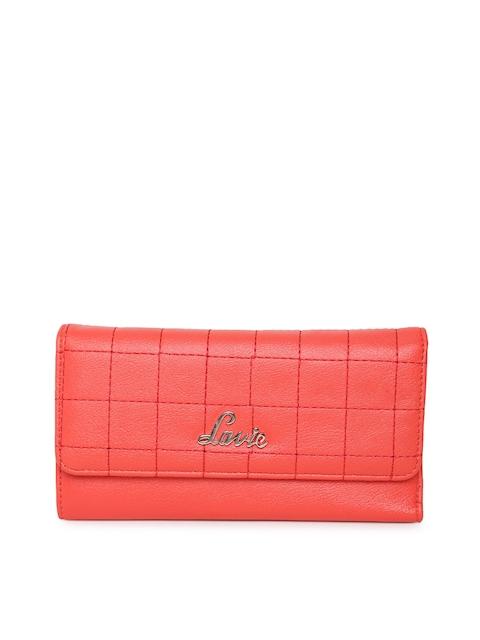 Lavie Women Coral Pink Textured Three Fold Wallet