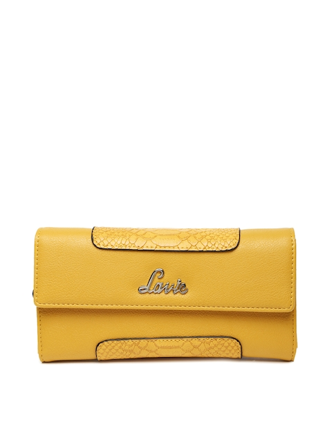 Lavie Women Mustard Yellow Textured Two Fold Wallet