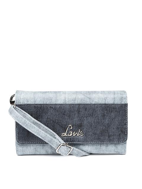 Lavie Women Blue Colourblocked Three Fold Wallet