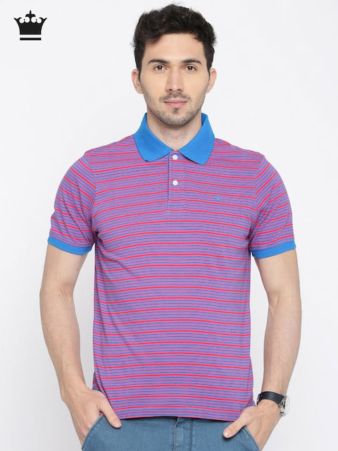 Louis Philippe Men Pink & Blue Striped Polo Collar T-shirt  available at myntra for Rs.1299