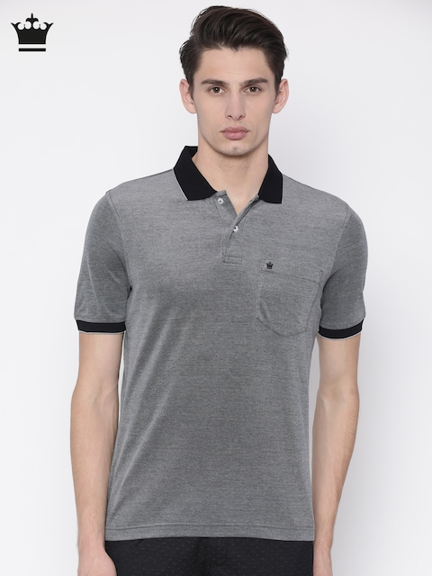 Louis Philippe Men Black Self-Design Polo Collar T-shirt