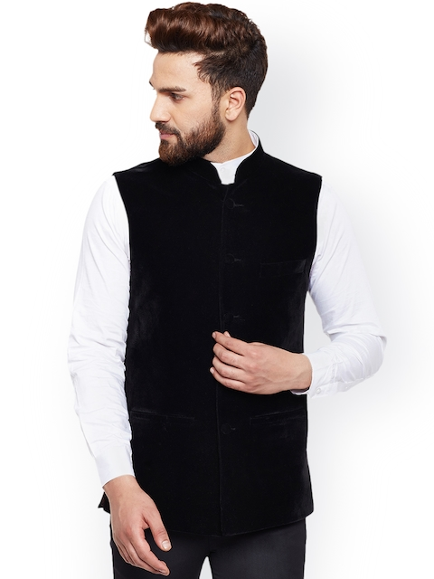 Hancock Men Black Velvet Nehru Jacket