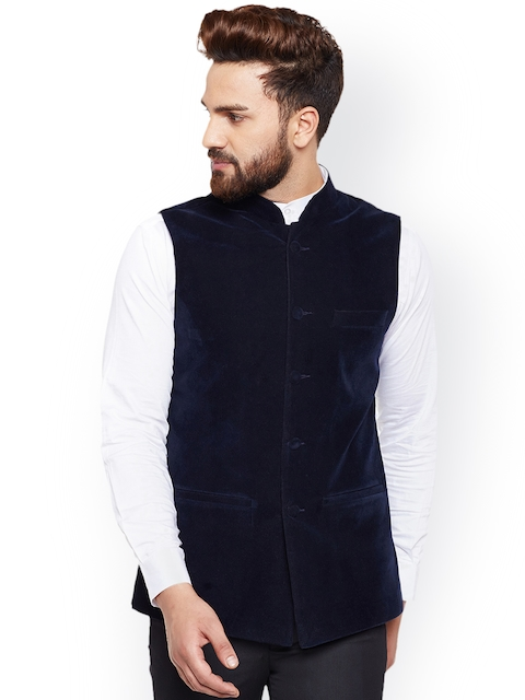 Hancock Men Navy Blue Velvet Nehru Jacket