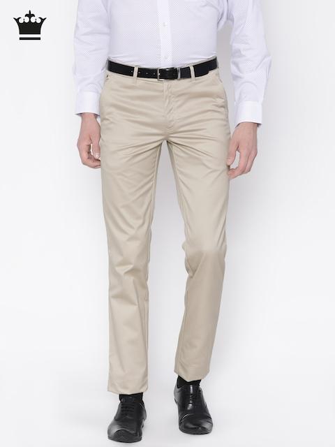 Louis Philippe Men Beige Slim Fit Solid Formal Trousers