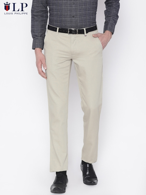 Louis Philippe Sport Men Beige Slim Fit Solid Formal Trousers