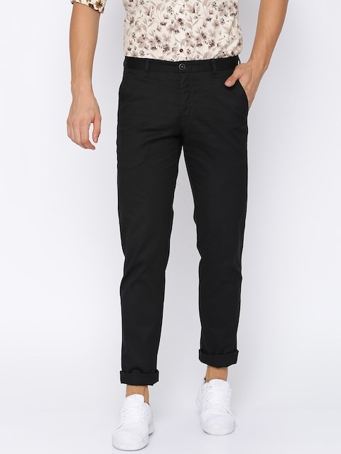 Louis Philippe Sport Men Black Slim Fit Solid Chinos