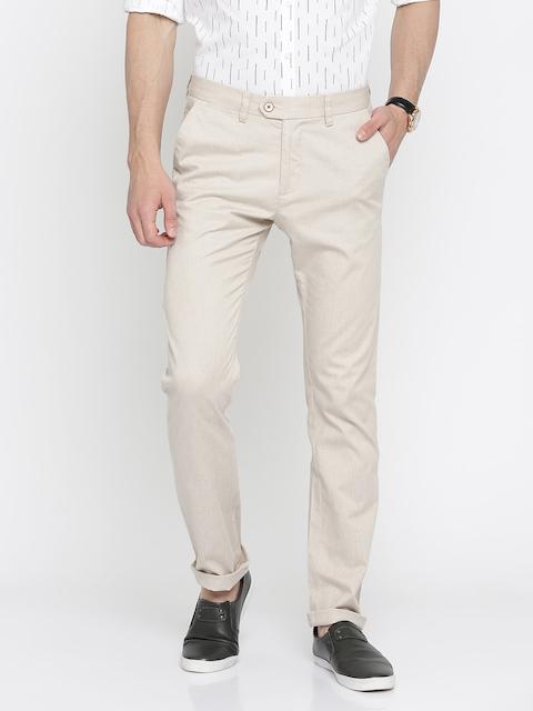 Allen Solly Men Beige Custom Tapered Fit Solid Regular Trousers
