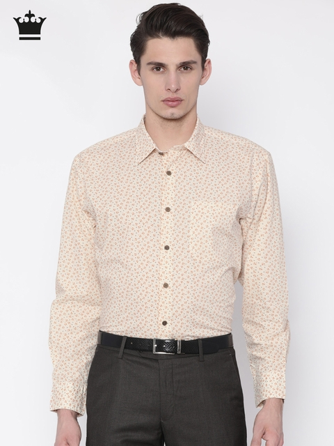 Louis Philippe Men Beige & Orange Slim Fit Printed Casual Shirt