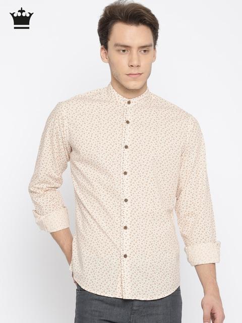 Louis Philippe Men Beige Slim Fit Printed Casual Shirt