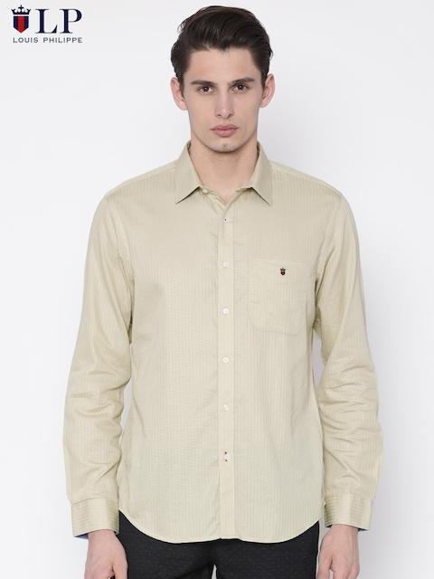 Louis Philippe Sport Men Beige Slim Fit Self Design Formal Shirt