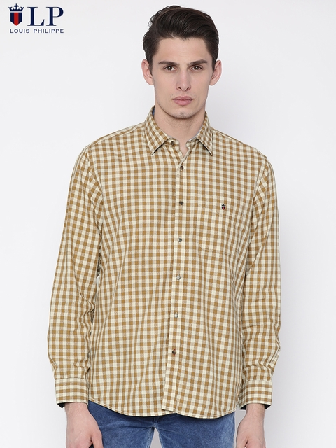 Louis Philippe Sport Men Beige & Brown Jermyn Tailored Fit Checked Casual Shirt
