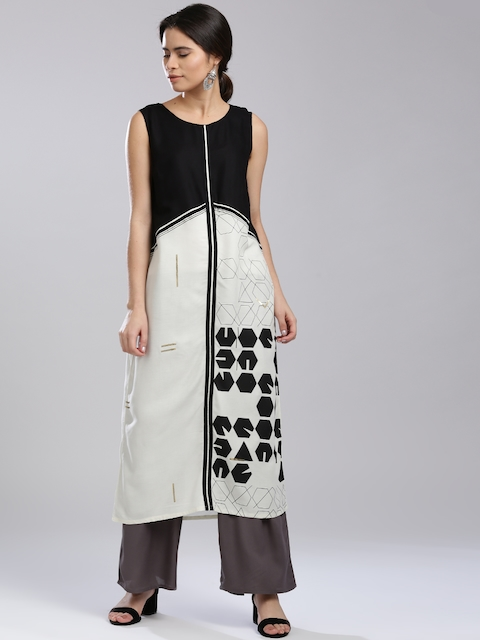 W Women White & Black Printed A-Line Kurta