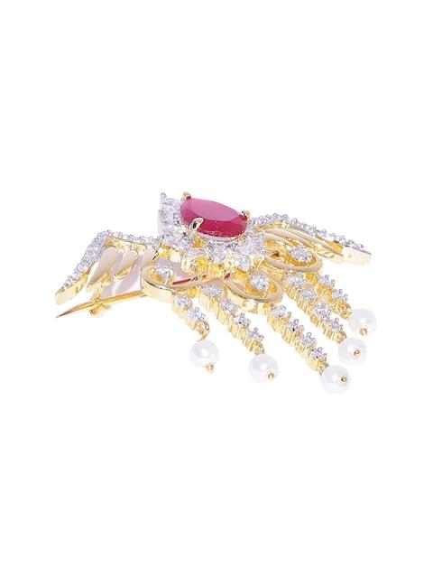 Studio Voylla Gold-Toned & Pink Embellished Bird-Shaped Brooch
