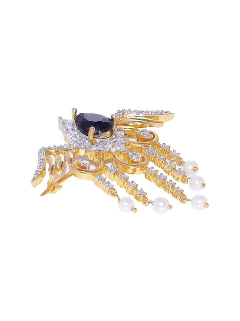 Studio Voylla Gold-Toned & Blue Embellished Bird-Shaped Brooch