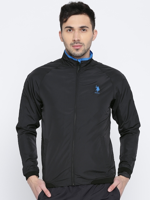 U.S. Polo Assn. Men Black Solid Sporty Jacket