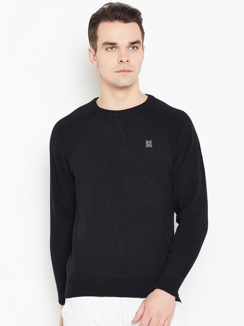 Monte Carlo Men Black Solid Sweater
