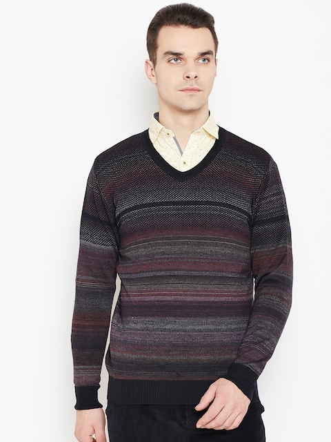 Monte Carlo Men Black & Burgundy Striped Woollen Sweater